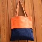 Le cabas cuir et jean orange